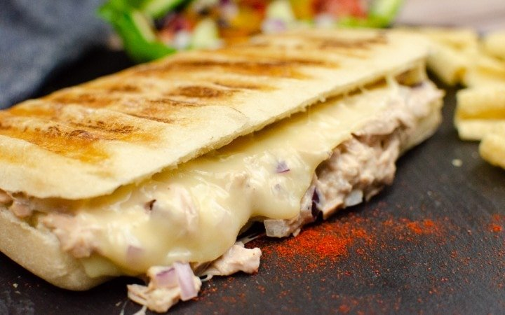 Tuna and Cheese Melt Panini on black slate
