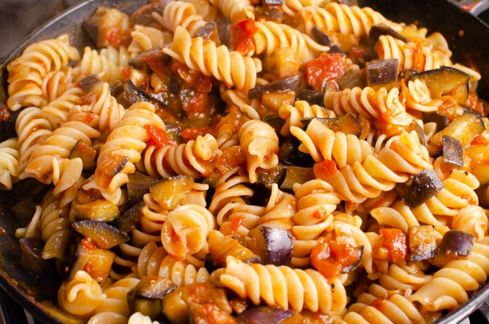 Pasta and aubergine mixture all stirred together