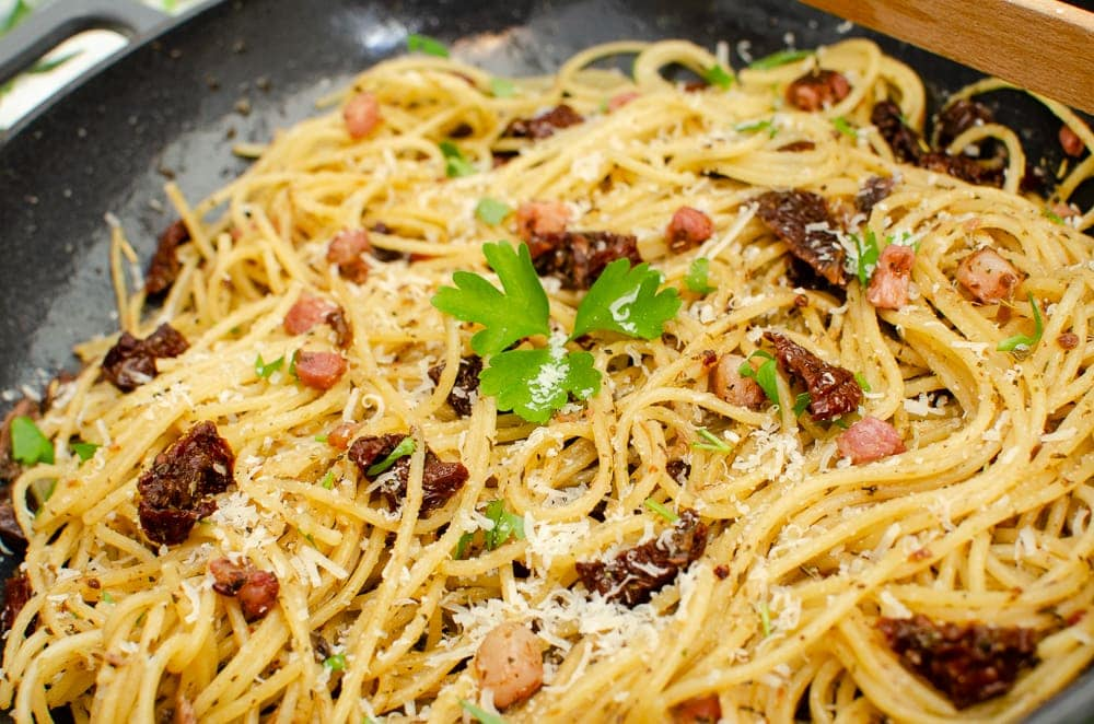 Pancetta, Anchovy & Sundried Tomato Spaghetti