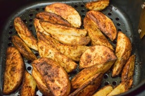 Our spicy curried potato wedges all cooked in the air fryer