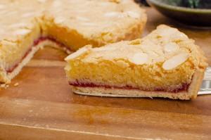 Slice of Raspberry Frangipane Bakewell Tart