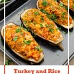 Pin image of our Turkey and Rice Stuffed Aubergines on a black baking tray with sprinkled chopped parsley over the top