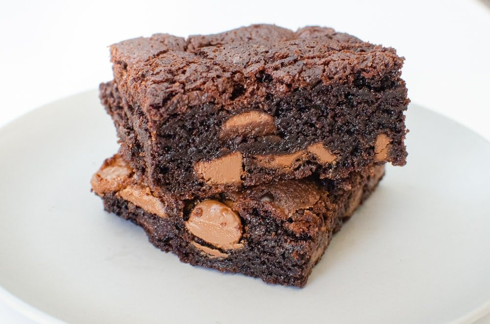 Chunky Chocolate Chip Brownies on a grey plate