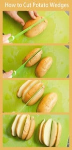 Images of cutting potatoes into 8 wedges on a green chopping board and using a green knife
