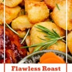 Flawless Roast Potatoes image for pinterest with sprinkled thyme over the top for seasoning