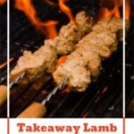 Pin image of our Takeaway Lamb Shish Kebab being cooked on a BBQ with flames coming up