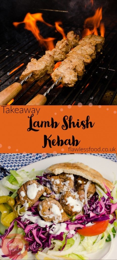 image of kebab cooking on gas BBQ and served with salad, red cabbage, onions tomato and chillies. With garlic sauce.