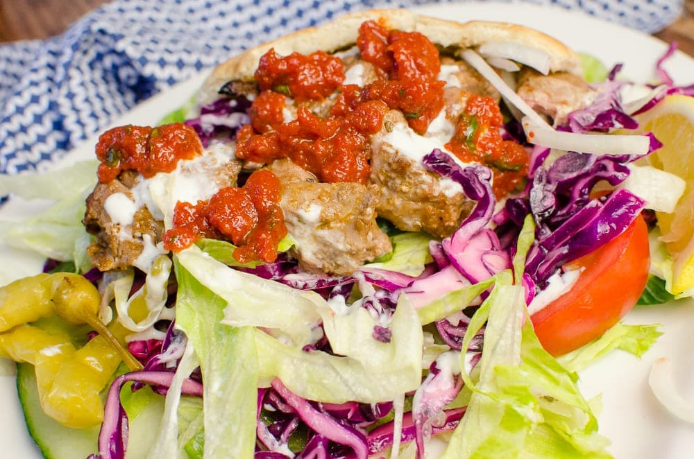 lamb shish kebab with all the salad, chilli sauce and garlic mayo like served by a takeaway van.