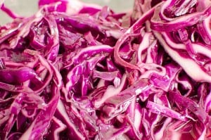 Shredded Red Cabbage ready to eat with a Turkish Kebab