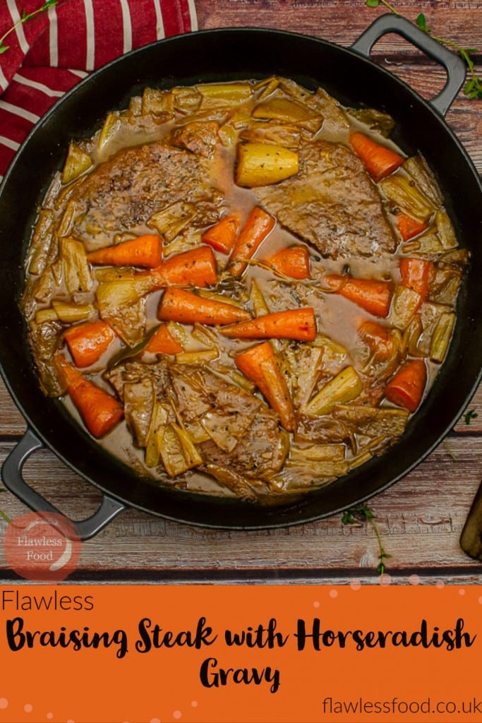 Try out this wholesome pot roast dinner, Braising Steak slow-cooked in a horseradish gravy stew, with carrots and shallots. Any beef cut suitable for slow cooking can be used, such as brisket, cheeks, chuck or short ribs. Can be braised in a cast iron pan, dutch oven, lidded casserole dish or in a slow cooker - crockpot. A proper winter warmer and a relatively cheap meal too!