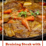 Pinterest image of our Braising Steak with Horseradish Gravy cooked in a grey cast iron pan with a wooden spoon on the side