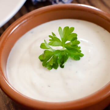 Easy Garlic mayonnaise sauce in a tapas dish with a parsley leaf on top for garnish