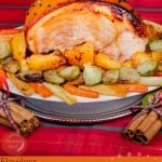 Pinterest Images of our Glazed Gammon Roast Joint with roast potatoes and glazed vegetables