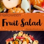 Halloween Fruit Salad images of fruit cut out into cats,bats,pumpkins and ghosts for pinterest