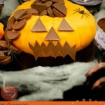 Pumpkin shaped cake with Chocolate Orange image for pinterest