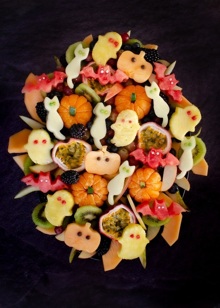 Halloween Fruit Salad, animated fruit shapes with eyes, ready for a Halloween party