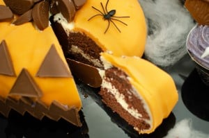 Slice of pumpkin cake cut out ready to serve