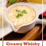 Pin image of our Creamy Whisky Sauce in a white jug with haggis neeps and tatties served on a white plate in the background