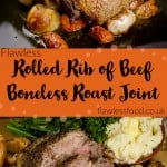 Rolled rib of beef boneless roast joint pin