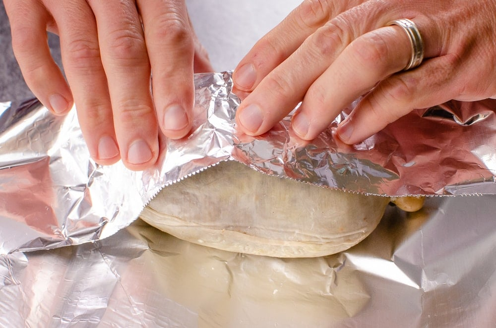 Wrapping the haggis in a tin foil