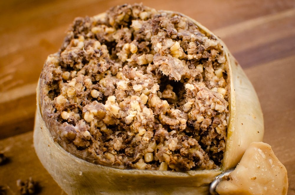 Haggis which has been opened up and ready to serve