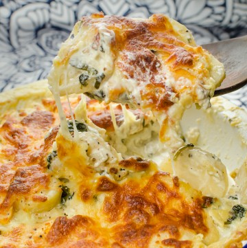 A slice of our gratin on a wooden spoon ready to be served