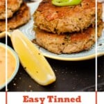 Pinterest image of our Easy Tinned Tuna Burgers on a blue and white plate served with a slice of lemon and spring onion on top