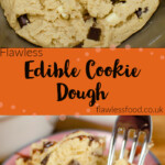 Pinterest image of our Edible Cookie Dough in a silver bowl and served on a small pink dish being picked up with a silver fork