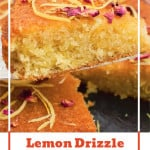 Pinterest image of a slice of our lemon drizzle cake on a silver cake knife