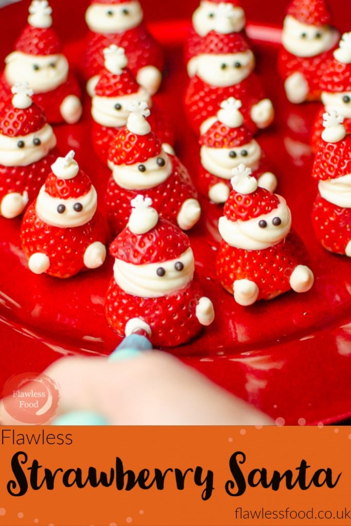 image of our Strawberry Santa's served on a red plate for pinterest