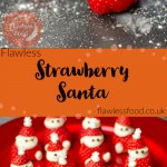Images for pinterest of our Strawberry Santa's being made and served on a red plate