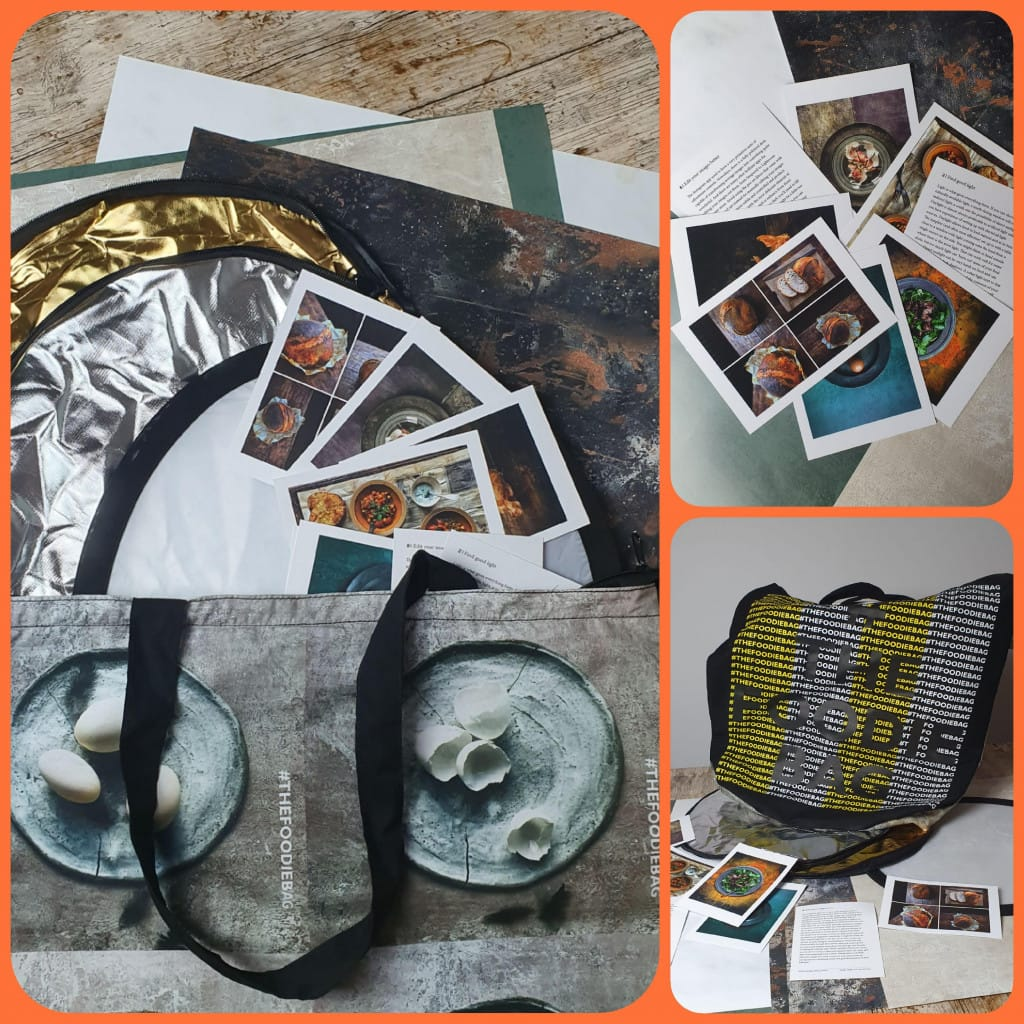 Collage pictures of a collection of photography props,a mini reflector,photo tip cards, backdrops and a big foodie bag to store them in. We was gifted to use for this blog