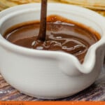 Pin image of our chocolate sauce being poured into a small whit jug