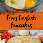 Pinterest images of our Easy English Pancakes being made and served as a stack on a black plate