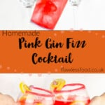 Pin images of our Pink Gin Fizz Cocktail being shaken in a clear cocktail shaker and served in two gin glasses being held by hands