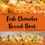 Pin images of our Fish Chowder Bread Boat served on a wooden board and bread being dipped by hand to eat