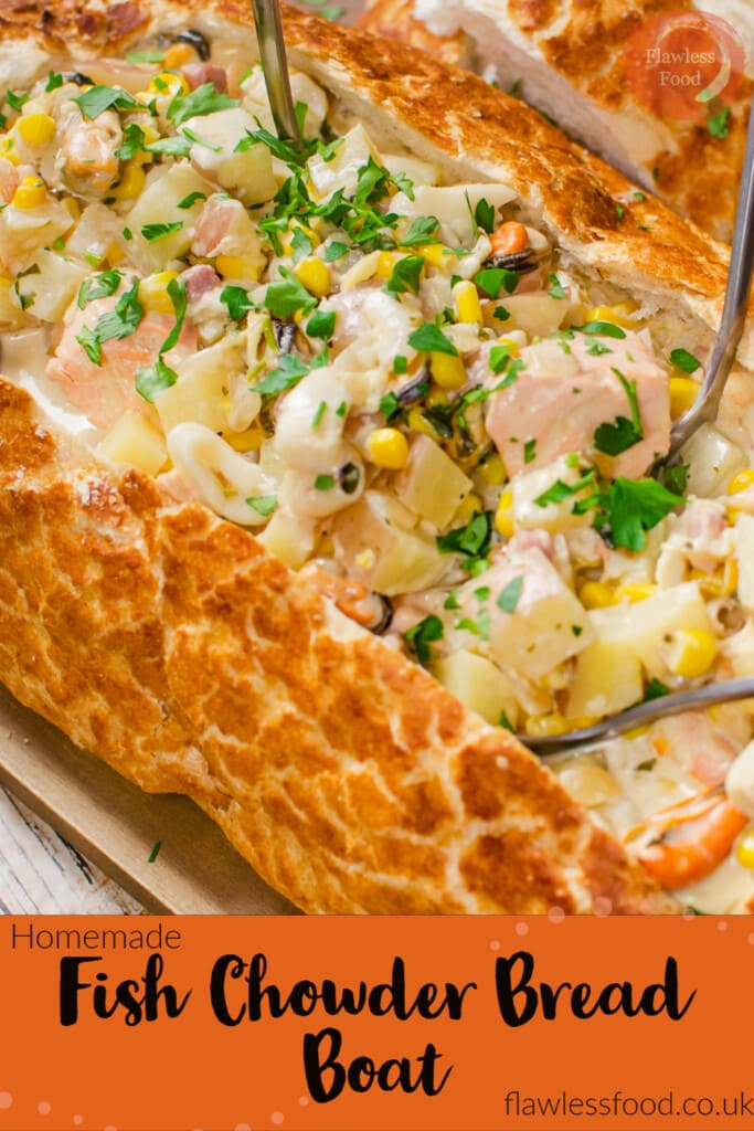 Pin image of Chunks of salmon ,smoked haddock, cod, prawns, squid rings, mussels ,chopped potatoes in a creamy white wine sauce and sprinkled fresh parsley served in a bread bowl with four silver spoons in the middle