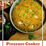 Pin image of our Pressure Cooker Chicken Biryani in a green bowl with side salad and mango chutney on the side