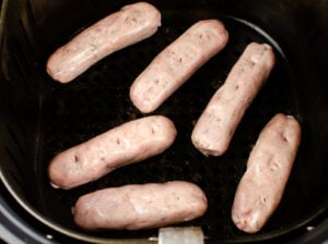 Six sausages in a air fryer