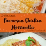 Pin image of our Parmesan Chicken Mozzarella, with the top image with the chicken cooked in tomato sauce and the bottom image of the chicken served with spaghetti on a white plate