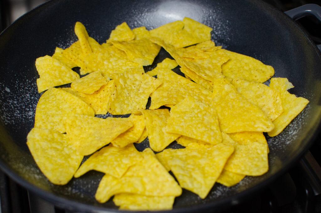 Nachos in a cast iron pan