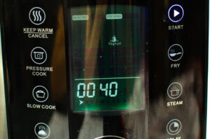 Pressure cooker on a timer for 40 minutes on Yoghurt setting
