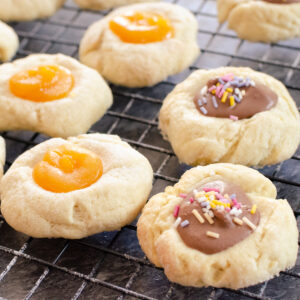 Thumbprint Cookies some filled with lemon curd and some with chocolate spread and sprinkles