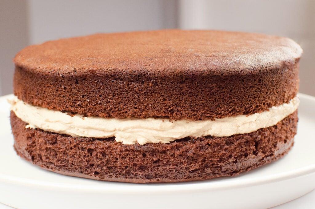 Chocolate Victoria Sponge Cake served on a white plate