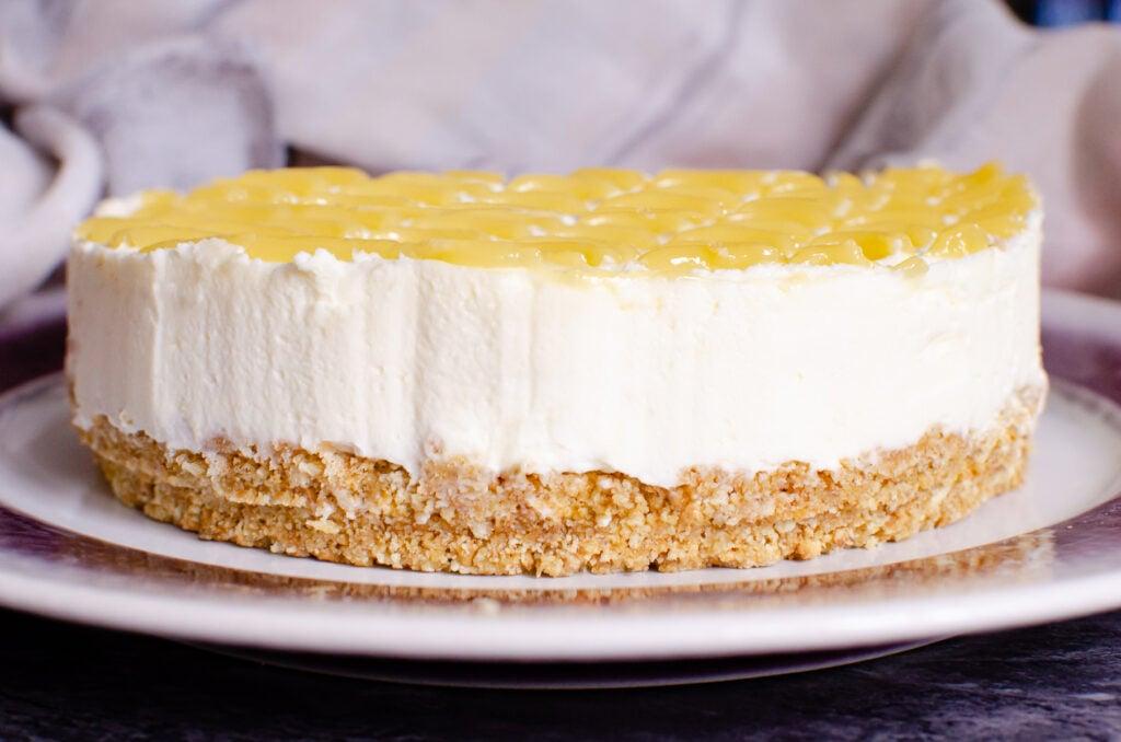 Lemon Curd Cheesecake on a white plate