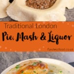Pin images of opur pie mash and liquor with the top image of coating four pies bottom edges with a water a wash by hand with a brush and the bottom image of our pie mash and liquor served on a white plate