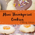 pin image of chocolate filled thumbprint cookies and passion fruit curd filled biscuits.