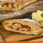 Pin image of a slice of our Apple strudel served with vanilla ice cream and the apple strudel in the background