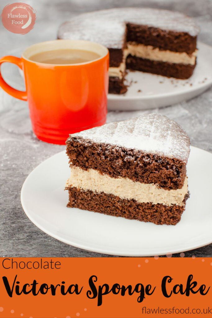 Pin image of our Slice of chocolate Victoria sponge cake with chocolate buttercream served on a white plate. With the remaining cake behind and a orange mug of tea.