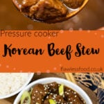 Pin images of our Pressure cooker Korean Beef Stew with the top image of the beef on a wooden spoon and the bottom image of our Korean Beef Stew served in a white and blue bowl with spring onions and sesame seed on top
